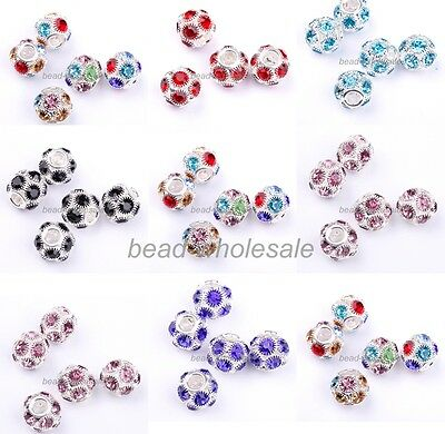 New Crystal Football Round Spacer Beads Big Hole For European Bracelet