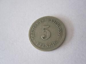 Reich-Allemand-1894-D-Nickel-tres-joli-1894-Piece-de-collection-5-Pfennige-Aigle