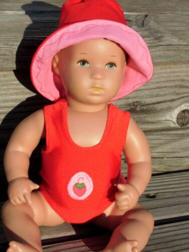 30 erdbeerchen Rosso Nuovo CAPPELLO PER BAMBOLE BABY BAGNO BAMBOLA planscherle MIS Costume da bagno