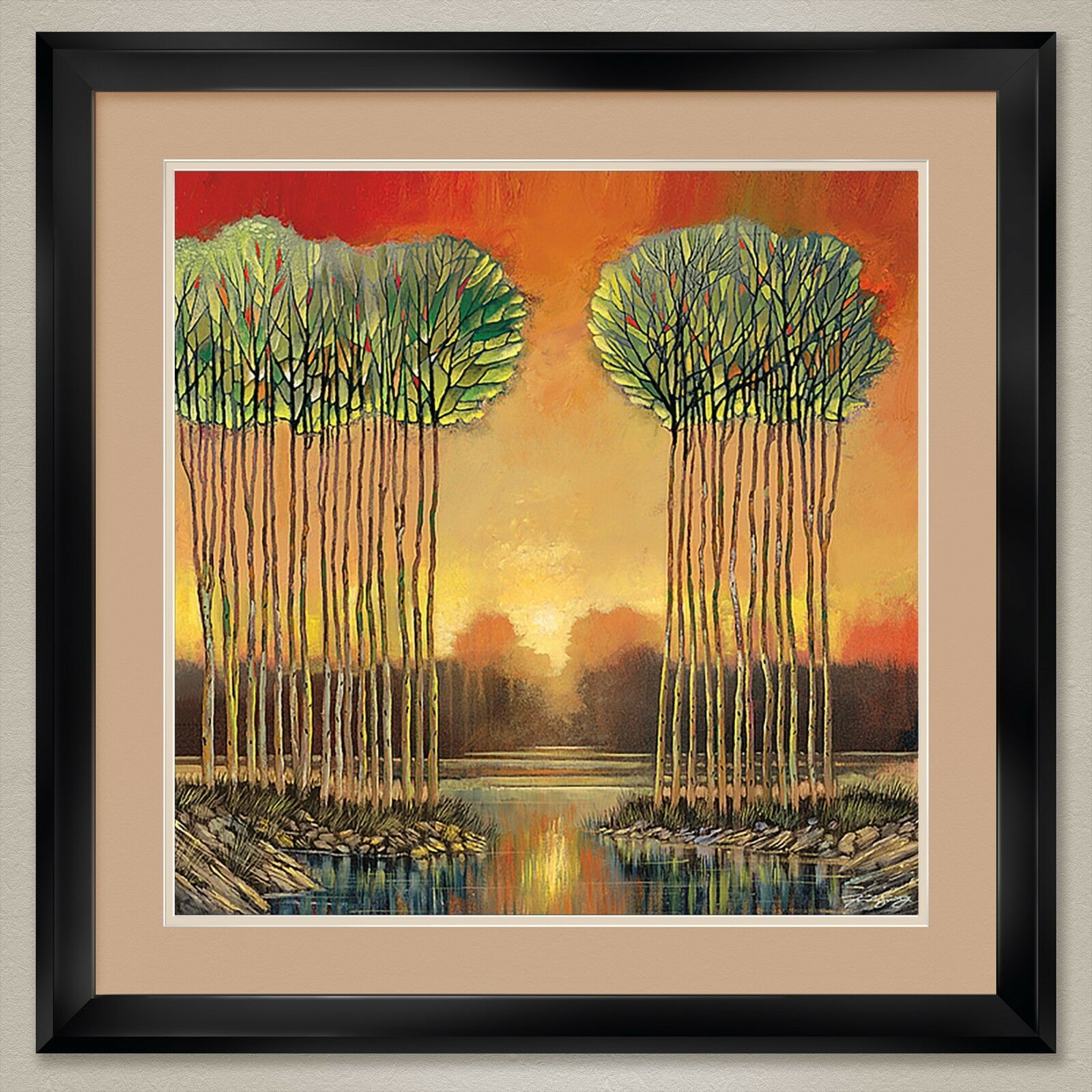 34W x34H   TRANQUIL EMBRACE by FORD SMITH - TREES -DOUBLE MATTE, GLASS and FRAME