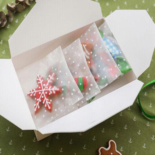 Transparent Cellophane Self Adhesive White Dot Plastic Candy Cookie Gift Bag  KI