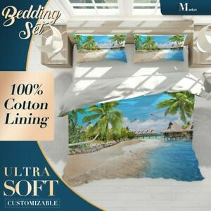 Sandy-Beach-Resort-Palm-Tree-Blue-Quilt-Cover-Queen-Size-Single-Double-King