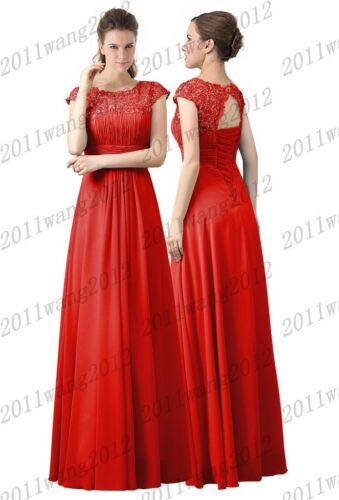 Lace//Long Formal Wedding Evening Ball Gown Party Prom Bridesmaid Dress Size 6-24