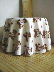 Valentine Miniature Table Teddy Bears Hearts Last one this fabric  1:12