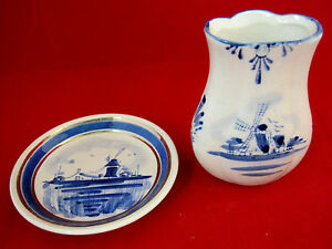 Delft-Blue-Small-Nobel-Ball-Vase-amp-Holland-Plate-Windmill-Design