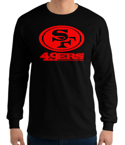 SAN-FRANCISCO-49ERS-BLACK-long-sleeve-T-Shirt-RED-Logo-Unisex-Adult-S-2XL