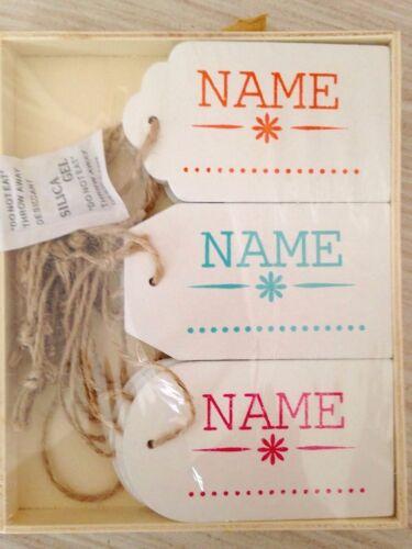 12 Namensschilder Etiketten Holz Geschenkanhänger 9 x 5 cm Flaschen Anhänger