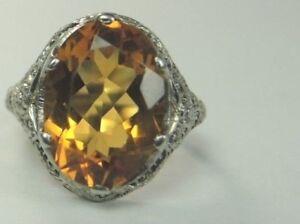 Retro-Estate-Vintage-Citrine-MFG-UR-14K-White-Gold-Ring-Size-5-25-UK-K-5-20-Cts