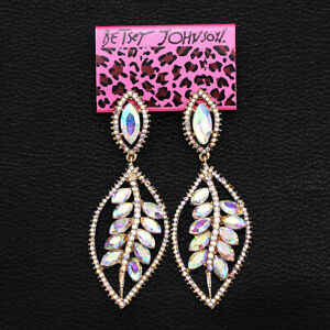Women-039-s-Jewelry-Colorful-AB-Crystal-Leaf-Dangle-Eardrop-Betsey-Johnson-Earrings