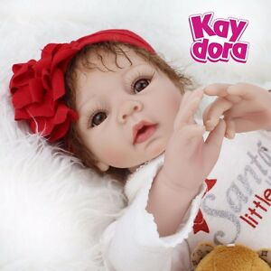 "Reborn Baby Girl Dolls Soft Vinyl Silicone Baby Doll Newborn Birthday Gifts 22"""