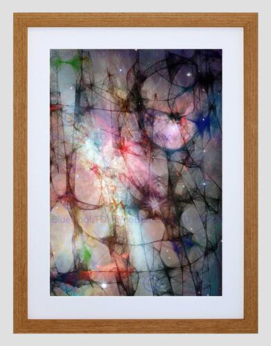 ABSTRACT WEB SPACE COSMOLOGY BLACK FRAME FRAMED ART PRINT PICTURE MOUNT B12X9579