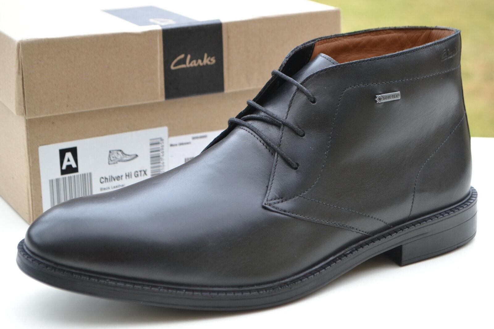 Clarks BNIB Mens Chukka Boot CHILVER HI GTX Black Leather UK 7 / 41 RRP