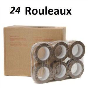 LOT DE 24 ROULEAUX Ruban Adhésif Emballage MARRON  ADHESIF  50 x 66 metre