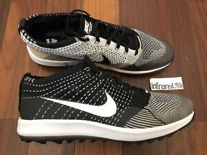a6475666097bc NEW Nike Flyknit Racer G Men s Sizes Golf Shoes Oreo Black 909756 ...