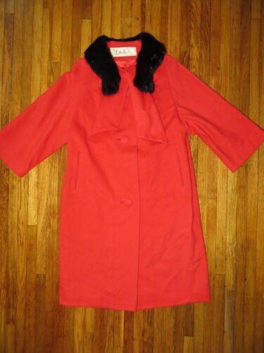 Lilli Ann Paris Womens Red Wool Princess Swing Coa