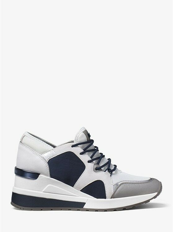 MICHAEL Michael Kors Scout Satine and Suede Athletic Sneakers, Navy/White, 9M