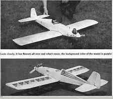 """FLOWER POWER""   Vintage   RC Model AIrplane Printed Plans"