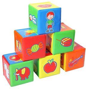 BABYWURFEL-6-St-Lernwuerfel-wEiCh-amp-BuNt-Baby-Spielzeug-soft-Wuerfel-NEU