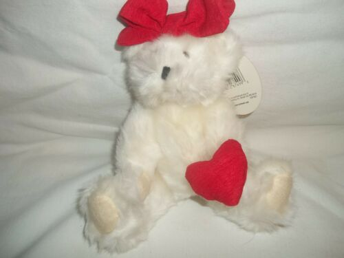 NEW Hallmark Valentine/'s White Plush Stuffed Emily Jointed Teddy Bear Red Heart