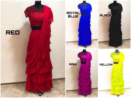 Bollywood Celebrity Designer Frilled Ruffle Saree Ethnic Wedding Party Sari