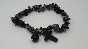 Beautiful-Sterling-Silver-Dalmatian-Obsidian-amp-Onyx-Stretchy-Bracelet