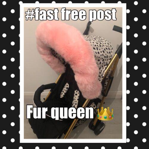 Pram Hood Fur Bubblegum Pink Fits My Babiie Bugaboo /& More Fur Queen