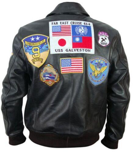 Men/'s Tom Cruise Designer Top Gun Black Motorbike Leather Jacket