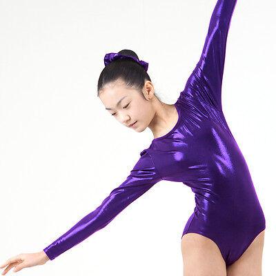 KYoon's Gymnastics Leotard New Solid Foil 4way Long Sleeve Child Adult Eggplant