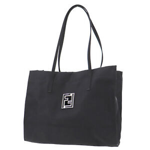 FENDI Logos Shoulder Tote Bag Black Nylon Vintage Italy Authentic #AC80 O