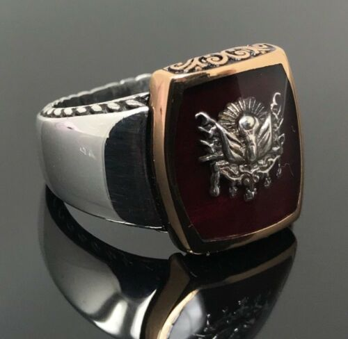 New 925K Sterling Silver Red Enameled Sultan Signature Men's Ring K63J
