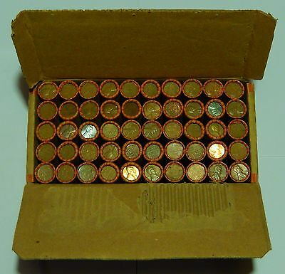 VB10 TWO Wheat Penny Rolls From Sealed Shipping Box 100 Cents 1909-1958 PDS