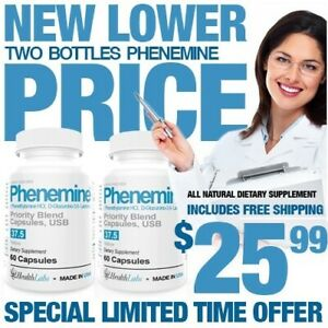 2CT Phenemine Lose 37.5 P Extra Strength Max Strong Best Fast Rapid Weight Loss