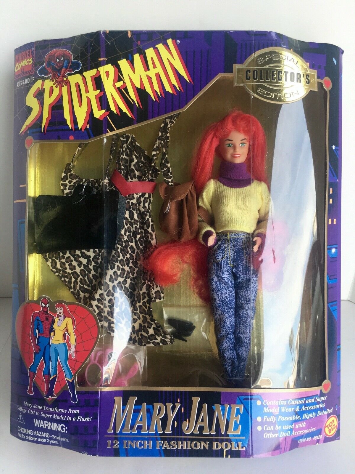 SPIDER-MAN MARY JANE 12 INCH SPECIAL COLLECTOR'S EDITION TOY BIZ TAF-1