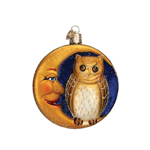 034-Owl-in-Moon-034-26064-X-Old-World-Christmas-Glass-Ornament-w-OWC-Box