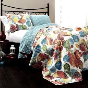 Lush-Decor-3-pc-Reversible-Cotton-King-Quilt-Bedspread-Set-Orange-Blue-ret-250