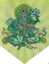 Green Tara Flag Hindu Goddess Earth Nature Deity Banner Penant Wall Decor #FGT