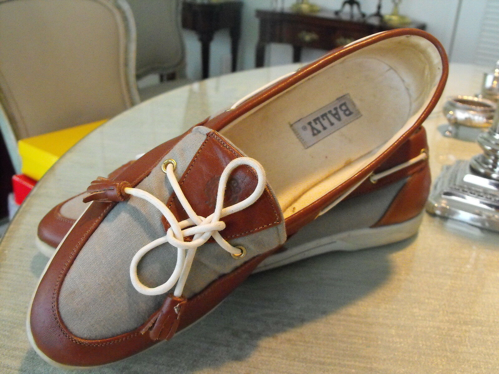 BALLY Leather Gray Blue Canvas & Mahogeny Brown Leather BALLY Boat Shoes w/String Bows  8.5B 8259cb
