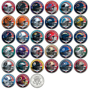 NFL-HELMET-LOGOS-JFK-Half-Dollar-US-Football-Coins-OFFICIALLY-LICENSED-32-TEAMS
