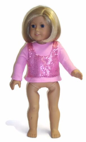 "Doll Clothes fits 18/"" American Girl Pink Top Shirt w//Attached Sequin Vest"