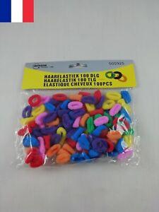 Paquet-de-100-Chouchou-elastiques-Attache-Cheveux-Multicolores-Enfant-Fille