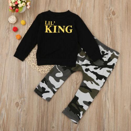 Camouflage Hose Outfits Kleidung Set Kind Baby Junge Brief T-Shirt Oberteile