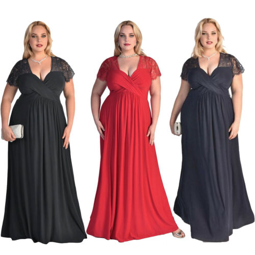 Women/'s Plus Size Short Sleeves High Waist Evening Cocktail Gown Long Lace Dress
