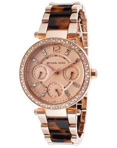 b6aa5ae8c0f6 New Michael Kors Mini Parker Rose Gold Tortoise Chrono Womens Glitz ...