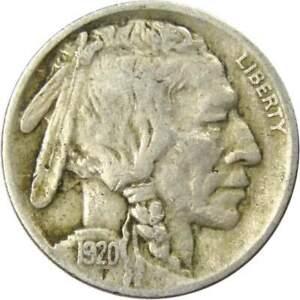 1920-5c-Indian-Head-Buffalo-Nickel-US-Coin-F-Fine
