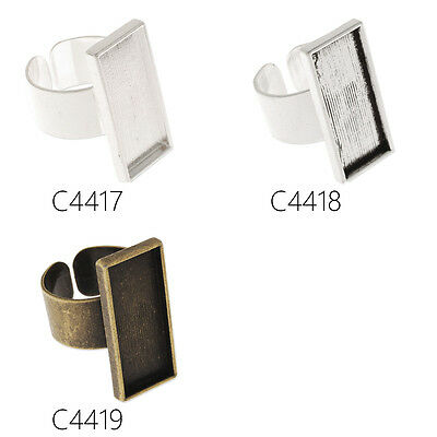 10Pcs 10*25MM Rectangular Shallow Bezel Adjustable Ring Blank Base Ring Findings