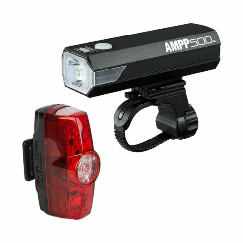 Cateye Combo Ampp500//Rapid Mini H//El085Rc//T//Ld635R Bike Lights Black 4F//4R Combo