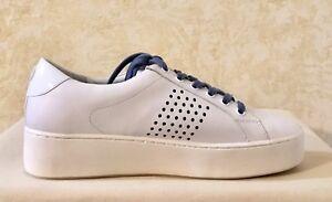d0706da3ce1 Women Michael Kors Poppy Lace Up Lasered Sneaker Leather Optic White ...