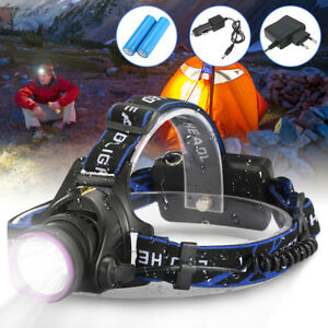 50000LM-Headlamp-T6-LED-Headlight-Torch-Rechargeable-Lamp-2x18650-EU-Charger-Set