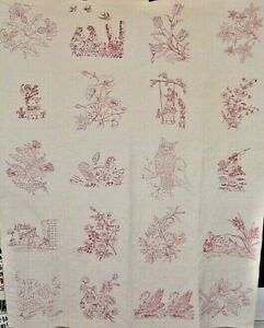 ANTIQUE-RED-WORK-QUILT-WELL-DONE-RED-WORK-c1880