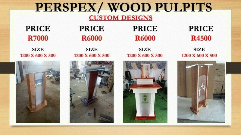 Custom Designs Perspex/Wood Pulpits